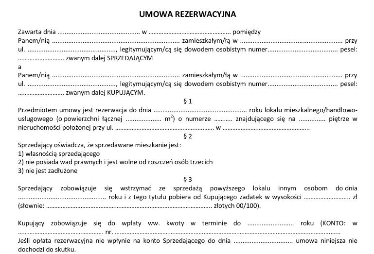 umowa rezerwacyjna mieszkania